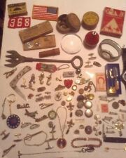 Vintage Mens Junk Drawer Lot Jewelry Cuff Links Watches Variety 65 PCS #704