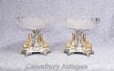 Pair Sheffield Silver Plate Epergnes Gilt Swan Dippers Cut Glass Plates Dish C.C