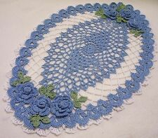 delf blue blue  roses crocheted doily  by Aeshagirl