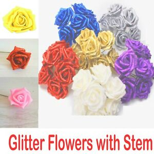 6cm FOAM ROSES pack of 6/96 Colorfast Artificial Flowers wedding decoration UK