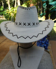 """White Leather Western Style Hat w/Dk Brown Stitching & Bull Logo on Front 23""""Lg"""