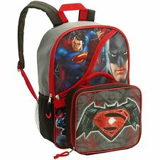 Batman v Superman Backpack with Detachable Lunch Bag Kit NEW