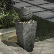 """Glitzhome 31""""H Floating Sphere Art LED Light Outdoor Water Fountain Garden Decor"""