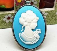 """Details about  /SULTRY MERMAID CAMEO NECKLACE 20/""""CHAIN BLUE//WHITE"""