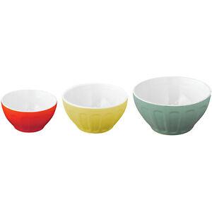 GoodCook OvenFresh Nesting 3 Piece Stoneware Mixing Serving Bowl Set, Multicolor