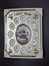 My First Year Baby Picture Photo Frame, 12 Month, Silver Finish, Never Used - Fs