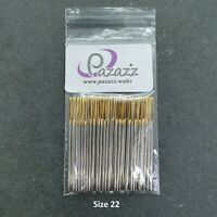 Cross Stitch Needles Embroidery Tapestry Gold Tail Sizes 22 pack of 100