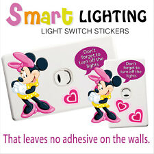 Minnie Mouse Light Switch Reusable Wall Sticker Decal Save Power