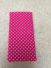 Sunglass / Eyeglass Soft Fabric Case -  Small Polka Dots on Hot Pink Background