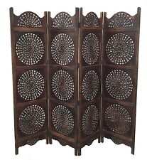 4 Panel Carved Wooden Round Sticker Leaves Design Indian Screen Room Divider
