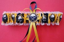Buffalo Sabres Fabric Wedding Garter Toss Prom Hockey Jewel Double Heart Charm