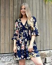 EBBY AND I WOMEN'S ROMANTIC SUMMER TUNIC DRESS PERSIAN NAVY PRINT SIZES 8-14