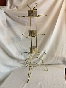 """Mid Century Atomic Wire Plant Stand Holder 33"""" Tall Gold"""
