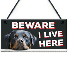 BEWARE I LIVE HERE Rottweiler Hanging Outdoor Dog Warning Sign Gate Security NEW