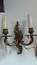 VINTAGE ORNATE CAST BRASS WALL LAMP TWIN SCONCE  LIGHT FITTING