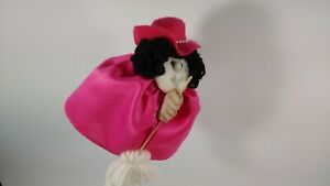 Pink Hat Stocking Face Good Luck Kitchen Witch Oooh...Peek Under Her Skirt!!
