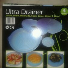 """4 PEZZI """"Ultra Drainer"""" - Ceppo, Scarico, Marinata, Cucinare, servire, vapore e archiviazione"""