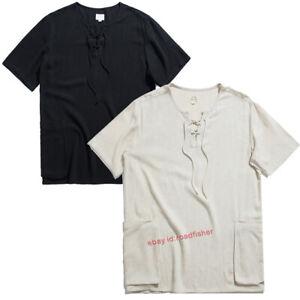 Linen Shirt Men's Summer Short Sleeve Shirt Retro Casual Shirt Tee Shirts Tops