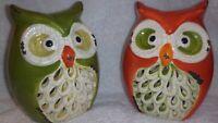 Retro Owl Luminaries Set of 2