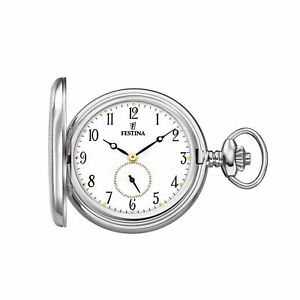 Festina F2026-1 Savonette Pocket Watch with Chain, Small Second