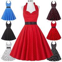 XS- 3XL Womens Vintage Polka Dot 50s Retro Style Swing Pin Up Dress Prom Dresses
