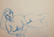 Vintage ink painting nude woman portrait
