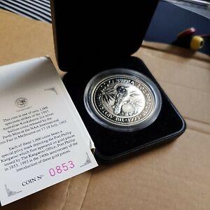 Australia kookaburra 2oz speciman Silver Proof Coin 1992 pf kangaroo privy Mark.
