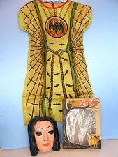 Vtg. ADDAMS FAMILY Childs ~MORTICIA~ HALLOWEEN COSTUME w/ MASK (1965) Ben Cooper