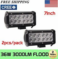 2x 7INCH 36W CREE LED WORK LIGHT BAR FLOOD OFFROAD 4WD BOAT ATV SUV FOG DRIVING