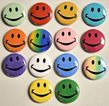 "14 HAPPY SMILEY FACE Buttons Pinbacks Badges 1"" Colorful Smile Retro 60s Hippie"