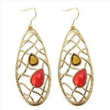 De Buman 18K Gold Plated & Create Red Coral Earrings