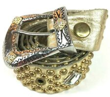 Vtg Sandcastle New York Womens Sz L 43� Gold Studded Leather Belt