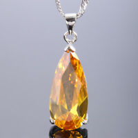"""Teardrop Yellow Citrine White gold Plated Pendant Necklace Chain 18"""" Free Pouch"""