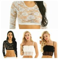 Women Summer Lace Long Sleeves Crop Tops Short Blouse T-shirt Sexy Cami Tank Top