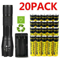 T6 LED Flashlight + 20Pcs 18650 Li-ion 3.7V Rechargeable Batteries +Dual Charger