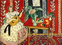 """HENRI MATISSE -  The Lute 1943 - *FRAMED* CANVAS ART 20x16"""""""