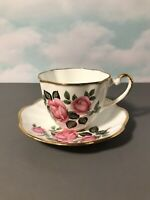"Vintage Salisbury Bone China Tea Cup and Saucer ""Roses"" Made in England"
