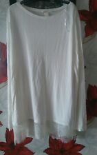H&M size large ivory thin summer top bottom lace detail