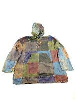 Hippy Boho Vintage Patchwork Cotton HANDMADE Nepal kangaroo hoodie festival coat