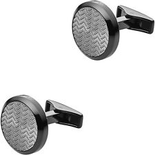 Emporio Armani Deco Collection Black Ion-plated Steel Men's Cufflinks EGS2254060