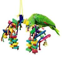 Pet Parrot Cages Hang Toys Bird Wood Large Rope Cave Ladder Bells Chew Toy AU