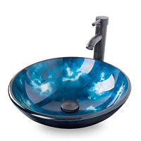 Bathroom Tempered Gl Round Ocean Blue Vessel Sink Faucet Pop Up Drain Combo