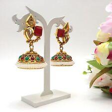 Indian Bollywood Costume Jewellery Party Ethnic Wear Polki Jhumka Earrings
