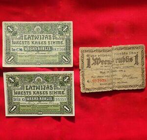 Latvian 1919 1-Rubel Bills/Banknotes ~ Latvia, Lot of 3
