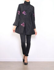 Women's Embroidered Floral Jacket Sequin Trench 10 12 14 16 18