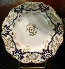 "Antique Cauldon England Davis Collamore Green Cobalt Blue & Gilded Plate 8"""