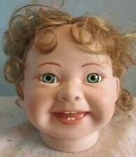 "Vintage Porcelain/Ceramic Head Parts 4"" Green Eyes Freckles Baby Toddler Doll"