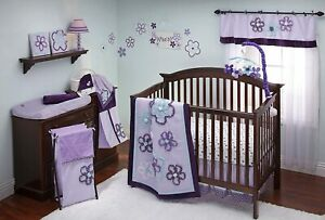 Purple Harmony 8 Piece Crib Bedding Set by NoJo Newborn Baby Girl Set New