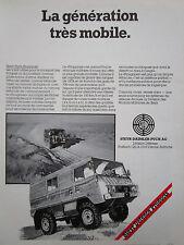 9/1982 PUB STEYR DAIMLER PUCH PINZGAUER 4X4 6X6 GELANDE ORIGINAL FRENCH AD