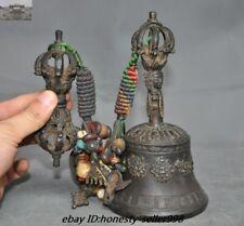 Old Tibetan Temple Bronze eight treasures Bell Zhong Vajra Phurpa Pray FaQi Set